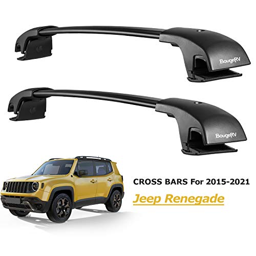 BougeRV Car Roof Rack Cross Bars for 2015-2021 Jeep Renegade with Side Rails, Aluminum Cross Bar Replacement for Rooftop Cargo Carrier Bag Luggage Kayak Canoe Bike Snowboard Skiboard