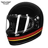 VCOROS - Casco integrale da moto, unisex, stile retrò, con rivestimento in fibra di vetro e logo DOT Touring Bobber