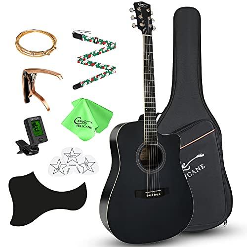 4/4 Akustikgitarre Erwachsene Hricane Gitarre für Anfänger 41 Zoll Full Size Westerngitarre Cutaway 4 Messingsaiteninstrument mit Fichtenfront und Sapeleboden