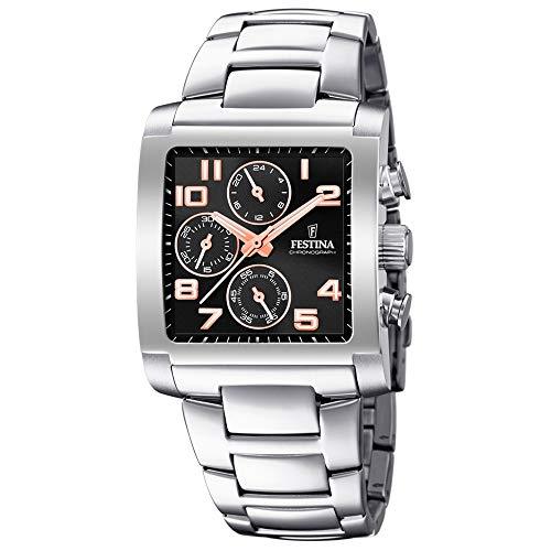 Festina Herren Chronograph Quarz Uhr mit Edelstahl Armband F20423/7