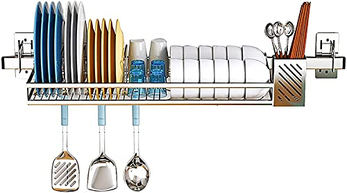 Dish Rack Kitchen Dish Drainer Shelf Rack Over The Sink Dish Drying Rack, Colture Hanging Stainless Steel Dish Drainer Dryer Rack with Knife Utensil Holder Hooks Space Saver for Kitchen Supplies Stora