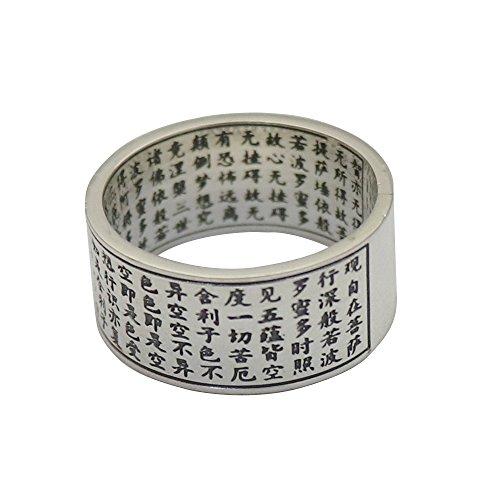 Anillo de Banda Mantra Sutra del corazón Budista de Plata de Ley 999 para Hombres Mujeres 10mm Talla 28