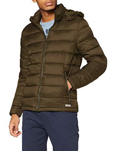 Springfield Chaqueta Acolchada Relleno Dupont Sorona Capucha Desmontable Quilted Jacket, Verde (Caqui), L para Hombre