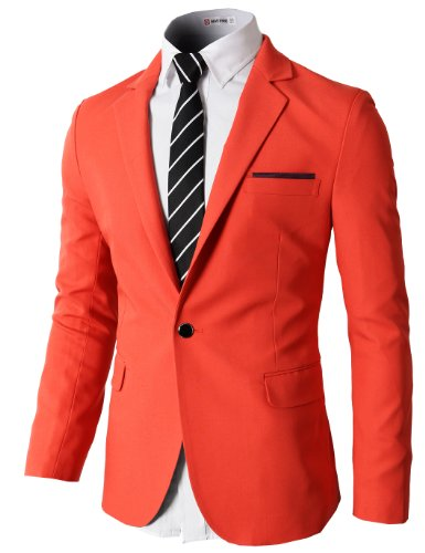 H2H Mens Slim Fit Single One Button Blazer Jackets with Pocketchief Trim Orange US M/Asia L (KMOBL046)