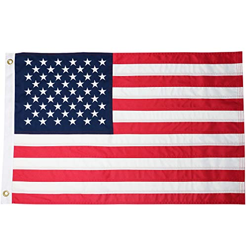 DLORY 2x3 FT American Flag Deluxe Long Lasting Outdoor US Flag Fade Resistant Embroidered Stars and Sewn Stripes USA Flag