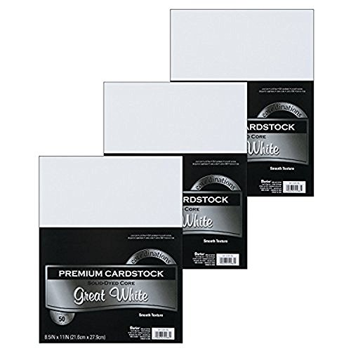 Darice GX-2200-06 50-Piece Card Stock Paper, 8.5 by 11-Inch, White (3 Pack)
