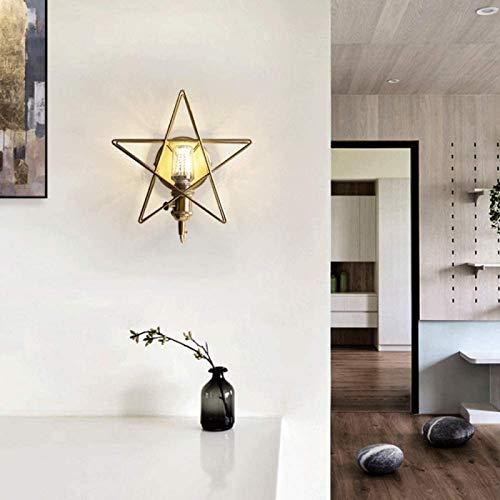 OPEYA - Lámpara de pared moderna simple de lujo, diseño de estrella con forma de farol de pared, color dorado
