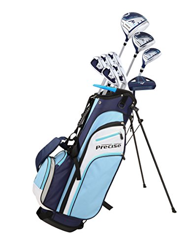 "Precise M3 Ladies Womens Complete Golf Clubs Set Includes Driver, Fairway, Hybrid, 7-PW Irons, Putter, Stand Bag, 3 H/C's Blue - Regular or Petite Size! (Petite Size -1"", Right Handed)"