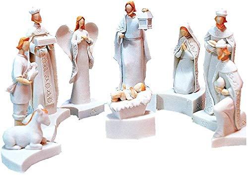 LPQA Estatuas y esculturas Escultura Animal jesús Nacimiento Cuna Grupo Figura Resina decoración Regalo Cristiano Regalo Cristiano jesús