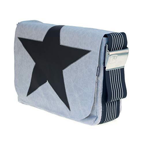 Segeltuchtasche CANVASCO Urban L/Tasche grau/Gurt blau-weiß/Motiv Stern schwarz