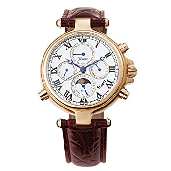 Stauer Men s Automatic Gold-Finished Graves  33 Wrist Watch with Genuine Leather Band