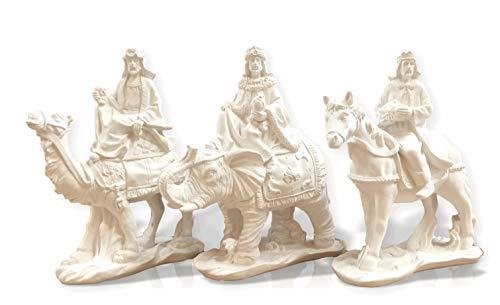 FUNNY CUP Conjunto de Reyes Magos de Navidad. 3 Figuras representativas de los Magos de Oriente con Diferentes Animales. Altura máxima 22 cm. Material de escayola para Manualidades