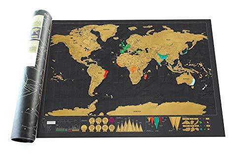 Ivhome Mappa Del Mondo,Grattare Viaggio Graffio per Mappa Camera Arredo Casa Adesivi da Parete Regali