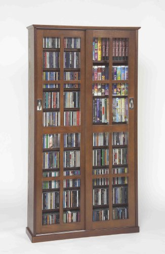 Leslie Dame Mission Multimedia DVD/CD Storage Cabinet with Sliding Glass Doors, Walnut