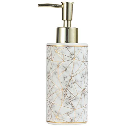 Binn Dispensador de Jabón Botella de cerámica dispensador de jabón 10,1 oz Loción Plástico Prensa Cabeza de la Bomba Sub-Botella rellenable Botella Ducha Gel Champú dispensador (Color : White)