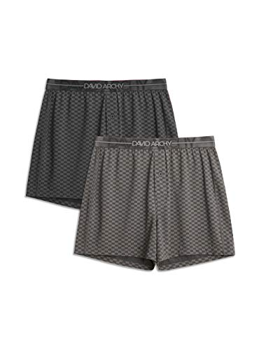 DAVID ARCHY Men's 2 Pack Boxers Shorts with Button Fly Soft Cotton-Modal Blend Underwear for Men (L, Black/Dark Gray)