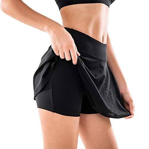 Deportes Transpirable de Secado rápido Deportes para Mujeres Anti-exposición Falda de Tenis Yoga Falda Corta Fitness Falda Corta Falda de Tenis de bádminton ✅