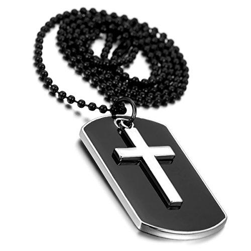 cupimatch Herren Military Army Style Dog Tag Legierung Kreuz Anhänger Halskette, 70cm Kette, Schwarz Silber
