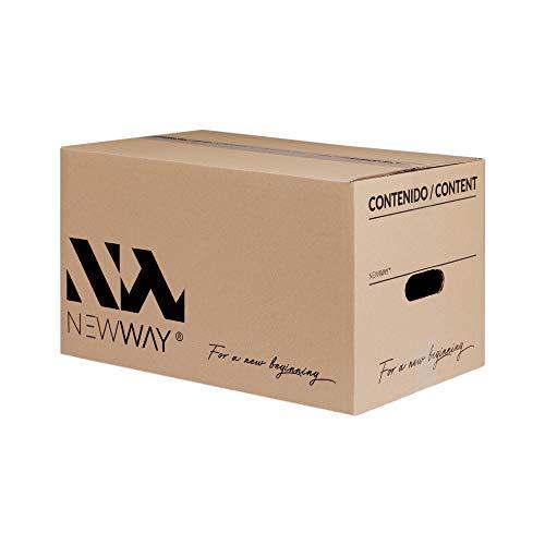 Pack 20 cajas de cartón para mudanza y almacenaje 430x300x250mm con asas fabricadas en España con cartón ecológico altamente resistente una capa CALIDAD BASIC
