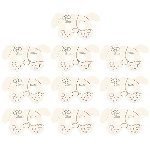 Milisten Leere DIY Halbe Masken Tierhund Papiermaske Handwerk Papier Party Maskerade Gesichtsmaske Dekorieren Party Kostüm Kinder Malen Kunst Handwerk Spielzeug (Hund) 10Pcs