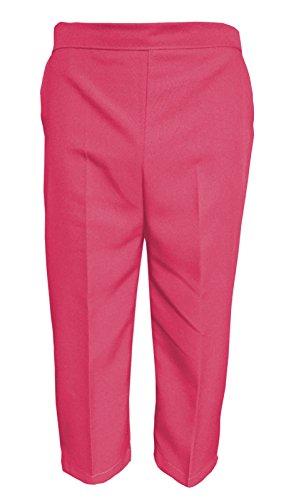 Nieuwe Womens Dames 3/4 Elastische Broek Shorts Capri Broek UK 8-22 (UK 12, Cerise)