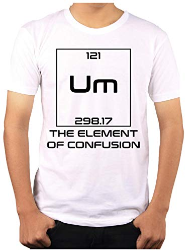 Wow T-Shirts 'The Element of Confusion' Stylish T-Shirt with Saying T-Shirts - Themed Printed Cotton Unisex T-Shirt (S, Red)