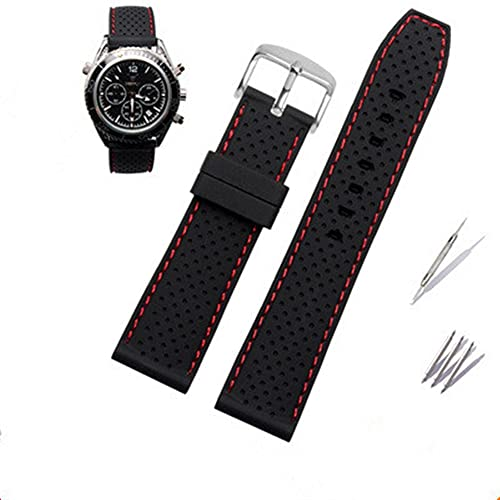DALIANMAO Reloj Band 22mm Soft Silicone Reloj Correa Correa Impermeable Pulsera Transpirable para Summer Outdoor Deportes Sweatproy Fripproy Bandas Accesorios (Band Color : Red, Band Width : 22mm)