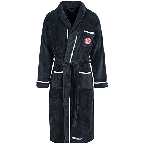 Eintracht Frankfurt Fleece Bademantel (L, anthrazit)