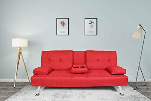 Knocbel Convertible Futon Sleeper Sofa Bed Couch with 2 Cup Holders, Solid Wood Frame & Metal Chrome Legs (Red)