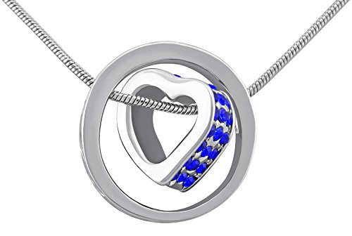 veuer gioielli per donna argento donna collana catena del cuore nel cerchio platino smaltato blu pietre Strass Amore Regalo da Natale per la fidanzata gioielli per donna