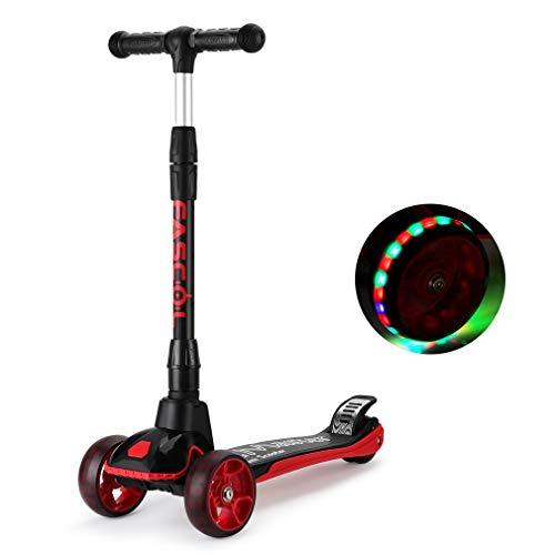 Fascol Patinete 3 Ruedas de PU para Niños de 3 a 12 Años,Diseño Scooter Plegable con LED Luces,3 Alturas Ajustables,Carga Máxima 60 kg