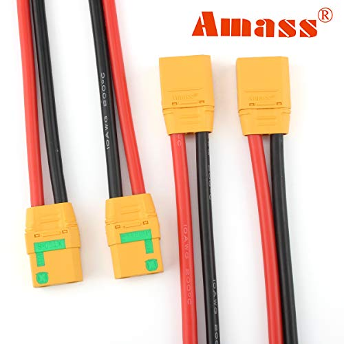 Amass 2 Pairs XT90S Pigtails XT90 Wire XT-90S XT 90 Plug Male and Female Connector 150mm 10AWG Silicon Wire for RC Lipo Battery FPV Racing Drone …