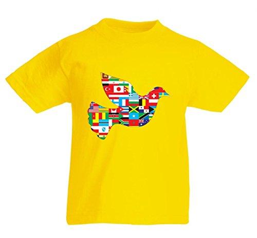 Camiseta con diseño de animales, pájaros, fronteras, cartografía, continentes, comedia de animales, paisajes, palomas, fugas, geografía para hombre, mujer, niños, 104-5XL amarillo Para Hombre Talla : X-Large