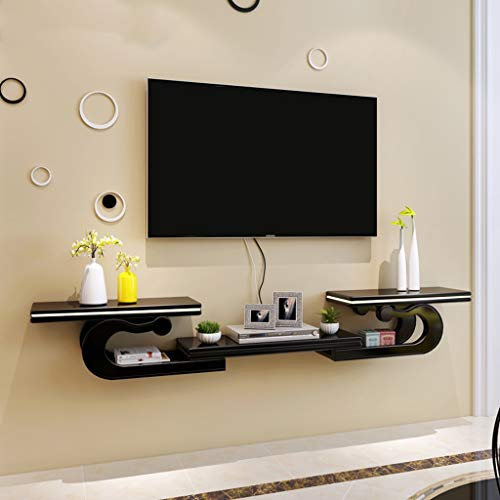 Wall Mounted TV kabinet Floating TV meubel TV Shelf 130cm-190cm (51.2in-74.8in) vrij Scalable Cable Box DVD-speler Opslag Shelf (Color : Black)