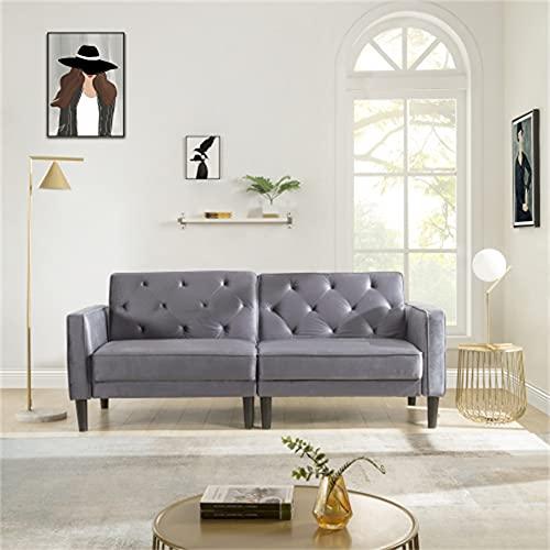 GKYI Sofá cama de tela moderna de 2 plazas, sofá reclinable con patas de madera para sala de estar, habitación de huéspedes/oficina (gris)