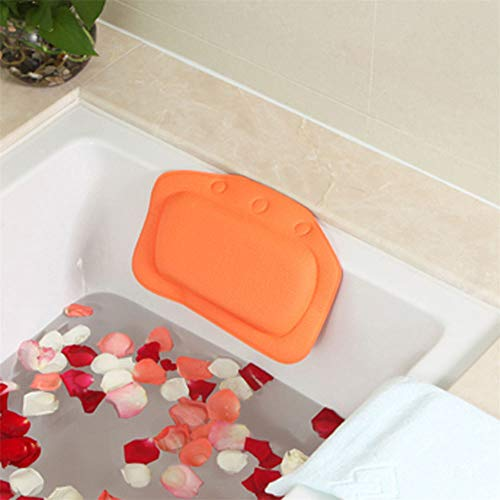 YALIXI Bath Pillow Cushion,Orange Bathroom Pillows with Suction Cups,Breathable Foam Sponge Bathtub Pillows,Head Neck Shoulders And Back Support,Suitable for Hot Tubs, Jacuzzis, Spas