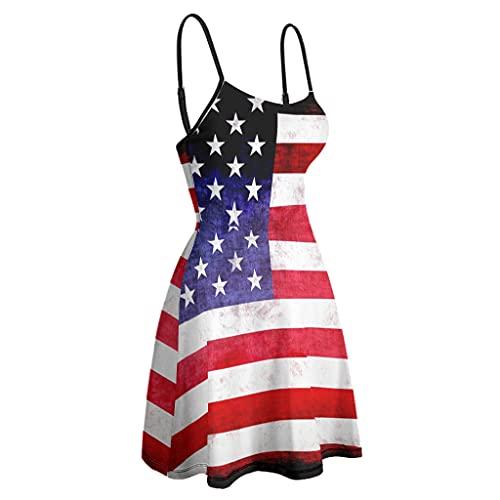 kikomia Vestido de mujer con tirantes finos, ajustable, vintage, estampado de la bandera estadounidense, vestido acampanado blanco XL