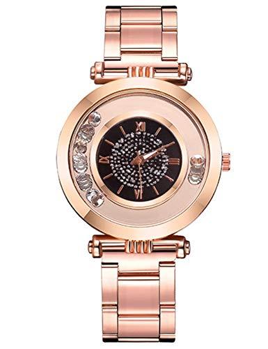Relojes de Mujer para Niñas, Reloj de Pulsera de Cuarzo con Diamantes Resistente al Agua para Mujer Reloj de Pulsera Analógico clásico Simple con Acero Inoxidable de Oro Rosa