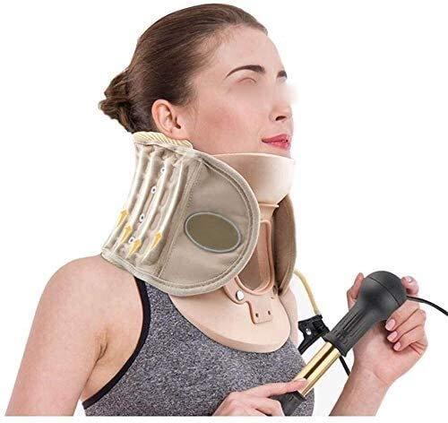 Dispositivo inflable del cuello cervical, para la rigidez del cuello de la rigidez y el alivio del dolor de la tracción del hombro: collar de camilla para la alineación de la columna vertebral mejorad