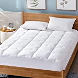 Bedsure Cotton Mattress Pad (up to 18 inches) - Deep Pocket - 300TC Soft Quilted Mattress Cover with Fitted Skirt White - Down Alternative Fill (100% Cotton, Short Queen)