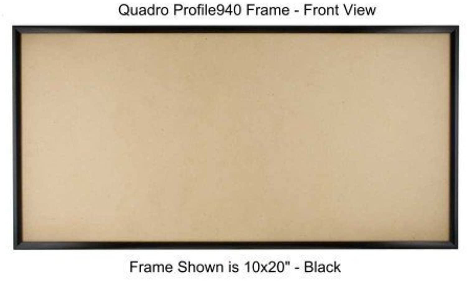 Quadro Frames 11x22 inch Picture Frame, Black, Style P375-3 8 inch Wide Molding, Box of 4
