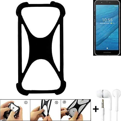 K-S-Trade® Parachoques para Fairphone Fairphone 3 Funda Bumper Anillo Protector De Silicona Cubierta De La Caja TPU Softcase Protector Negro (1x) + Auriculares