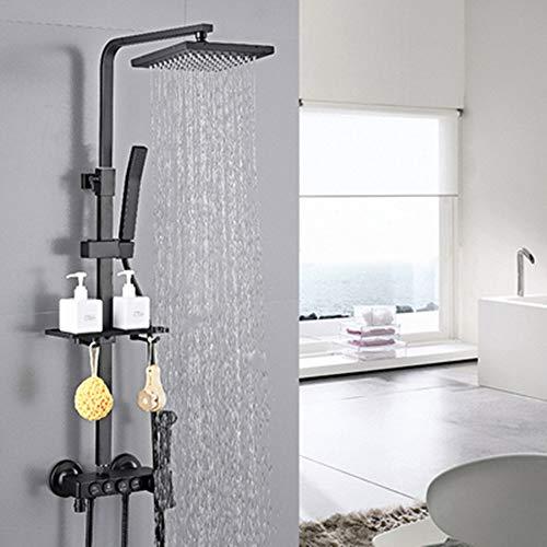 FCX-SHOWER Duschsystem Thermostat Duschgarnitur mit Regendusche Quadratisch Duschsäule Duschset Duscharmatur Set mit Edelstahl Kopfbrause Handbrause
