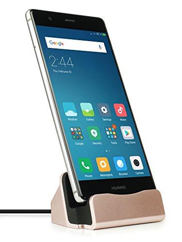 MyGadget USB C Docking Station - Base Estación de Carga para Samsung Galaxy S10 S9 (Edge) Plus, Huawei Mate 20 / P20 / P30 (Pro) / Xiaomi Mi 9 - Rosa Dorado