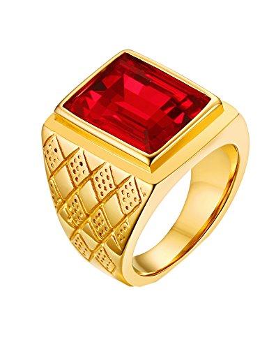 PMTIER Hombres 18K Oro Chapado Negrita Acero Inoxidable Anillo con Piedra Rojo Talla 14
