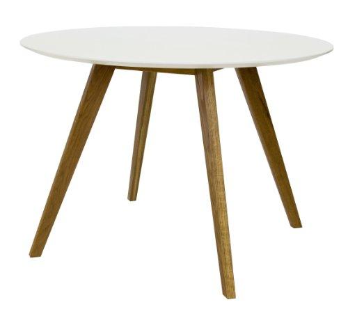 Tenzo 2181-001 Bess - Designer Esstisch rund, weiß, Tischplatte MDF lackiert, matt, Untergestell Eiche massiv, Höhe: 75 cm, Durchmesser: 110 cm