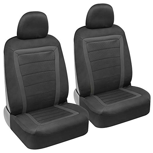 BDK FreshMesh Car Seat Covers, Front Seats Only – 2 Gray Front Seat Covers with Matching Headrest Cover, Modern Sideless Design for Easy Installation, Universal Fit for Car Truck Van and SUV