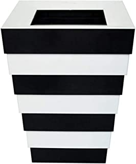 Rubbish Bin Trash Can, Rectangular Collapsible Indoor Storage Box, Black And White Striped Trash Can With Pressure Ring, Living Room Bedroom Bathroom Restaurant Cafe, Can Be Used To Decorate Wastebask