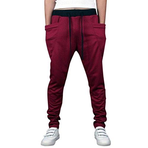 Paolian Pantalon de survêtement de Couleur Unie pour Hommes, Pantalons de survêtement de Poche, élastique à Cordon de Serrage (XL, Vin Rouge)