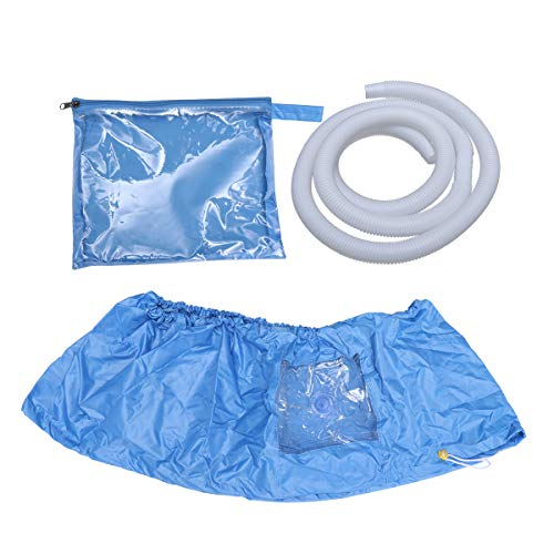 Vosarea - Telo di copertura per climatizzatore, impermeabile, per lavaggio e climatizzazione, blu (coperchio di pulizia medio + tubo trasparente da 2 m)